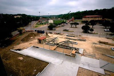 Birds eye view of Trilobites & the Iron Wave at what will be the entrance to the Skate Park.