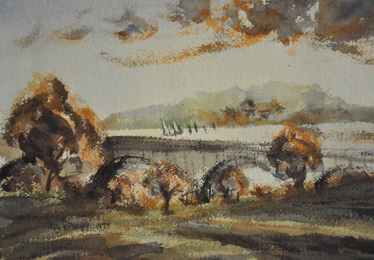 10X14 watercolor sketch of trees and bridge. Ala Prima, Plein Air