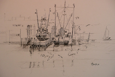 Pen and Ink Study of Goucester Harbor. Ala Prima, Plein Aire 13X10          x1