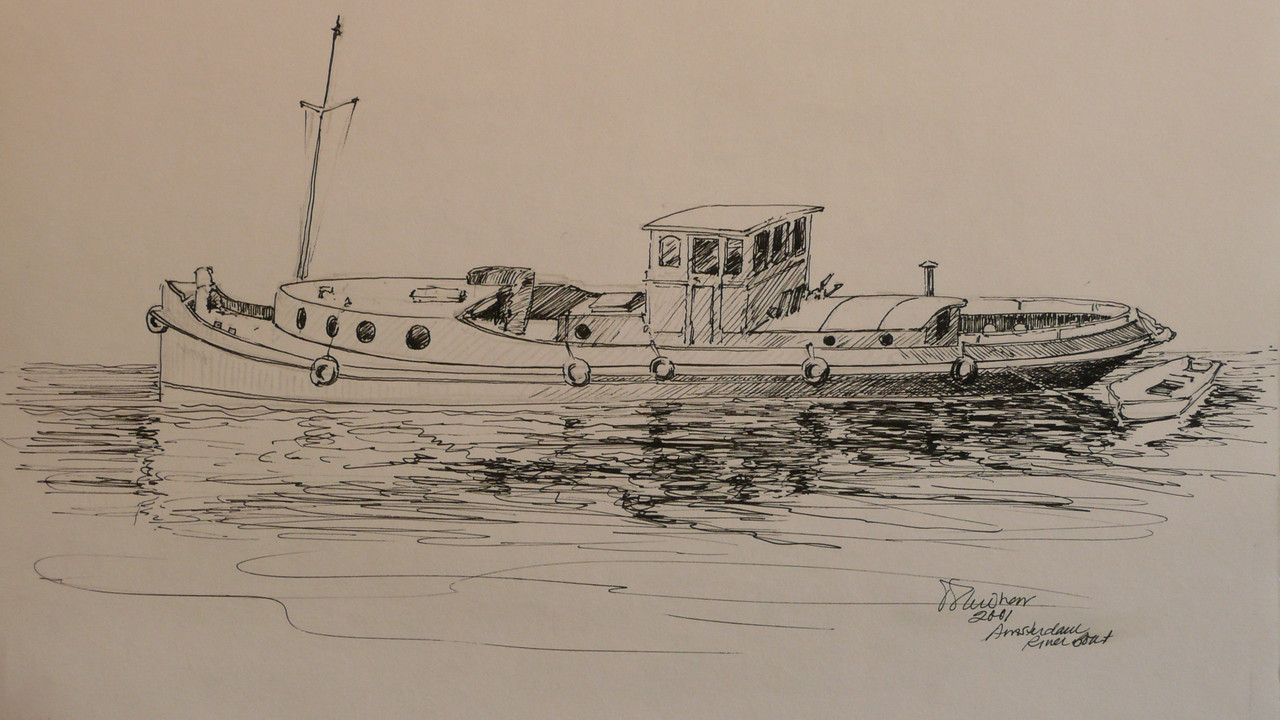 Pen and Ink study of a Amsterdam canal boat. Plein aire, Ala prima