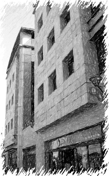 Black & white sketch. Tel Aviv