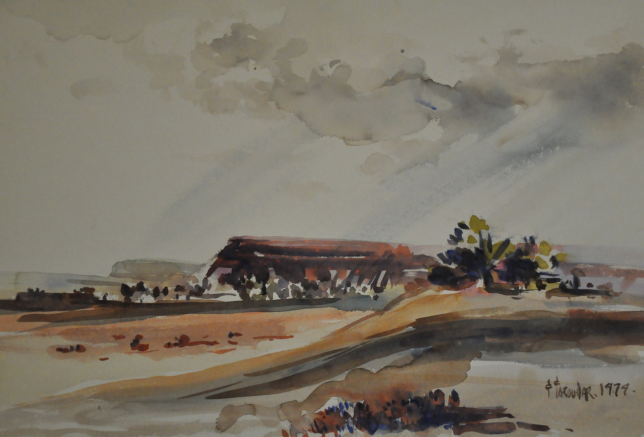 13X14 Watercolor sketch of rocky platforms somewhere in Arizona,  New Mexico desert. Ala Prima, Plein Aire