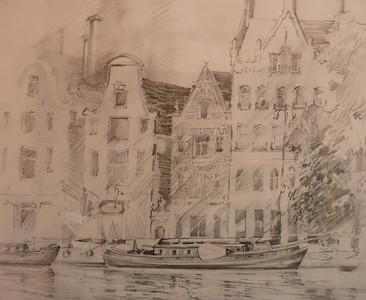 Graphite Sketch of a piece of Amsterdam.  Ala prima, plein aire 13.5X11.5