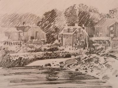 Graphite, Rockport Shoreline Plein Aire, Ala Prima 14X12