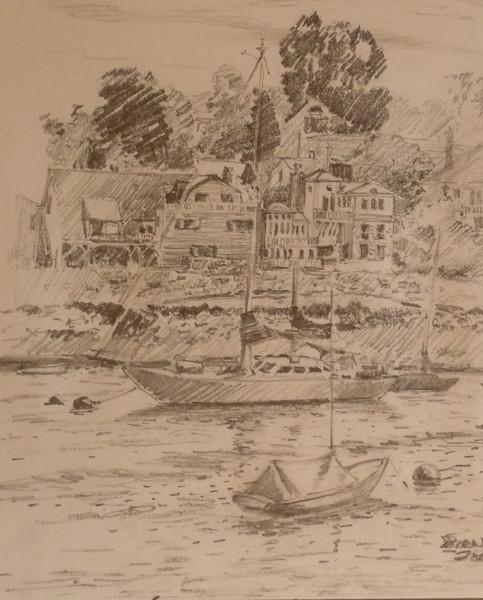 Graphite sketch of Rockport Inner Harbor. Plein aire, ala prima. 12X8