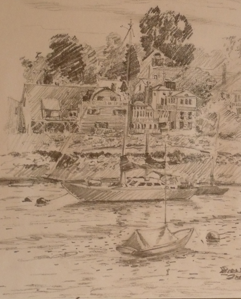 Graphite sketch of Rockport Inner Harbor. Plein aire, ala prima. 12X8