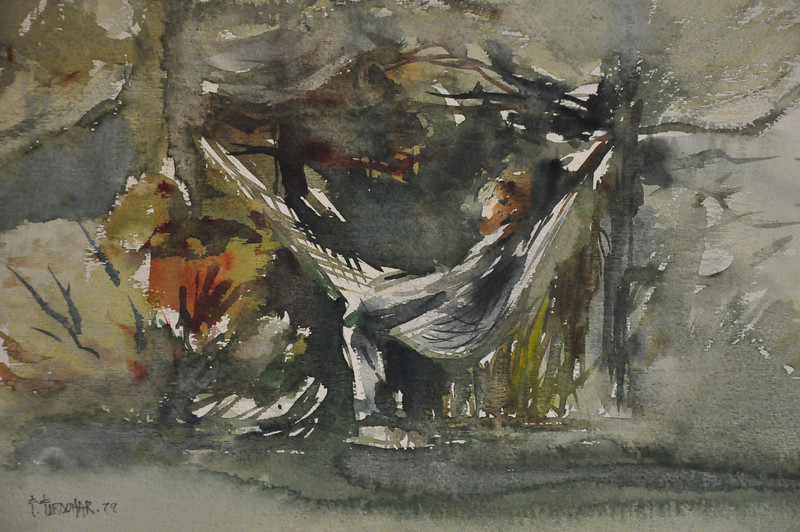 10X14 watercolor sktech of Kelly Stwart, an old friend sitting in a hemic on our camping trip to VT. Ala Prima, Plein Aire