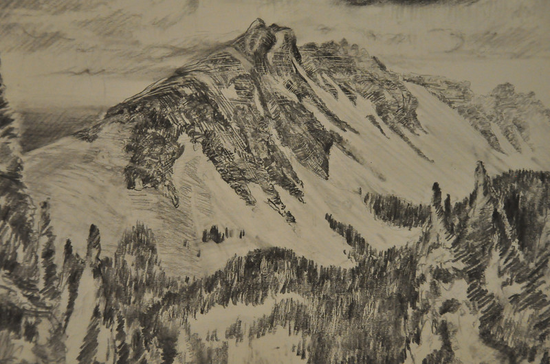 Graphite Study of a mountain in Bona Vista Area, CO. Ala Prima, Plein Air 13X10