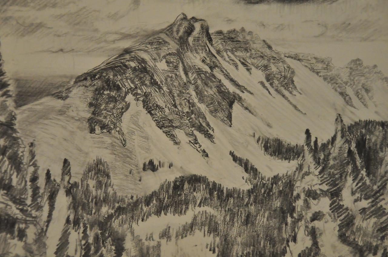 Graphite Study of a mountain in Bona Vista Area, CO. Ala Prima, Plein Air 13X10