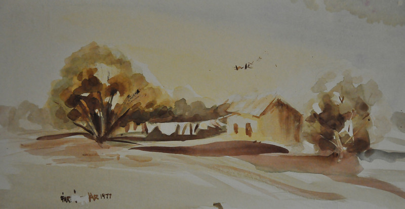 9X13 Watecolor sketch of this little farmhouse in East Hartford. The swinging laudary in the wind caught my eyes. Ala prima, plein aire.