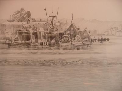 Graphite study of Goucester Harbour Ala prima, plein aire 15X11