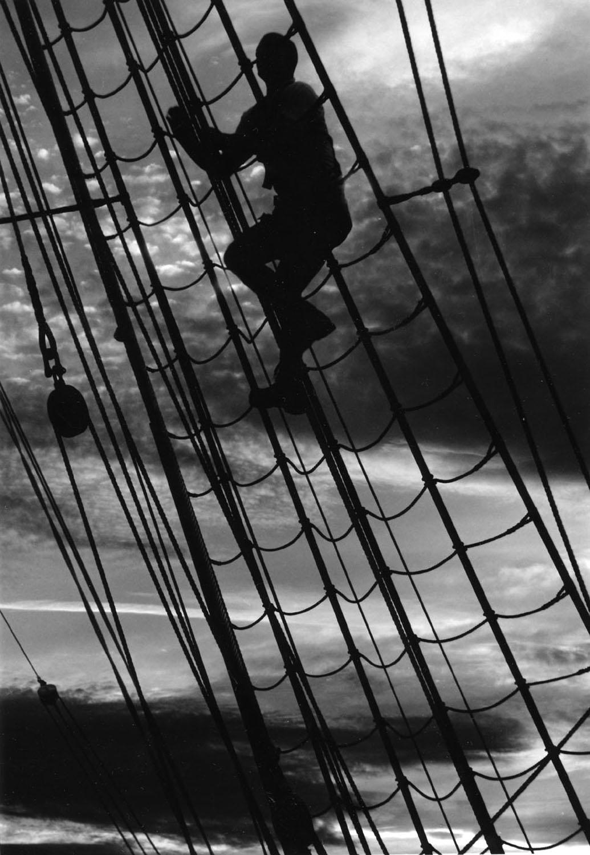 Man climbing Rigging of Gorsh Foch