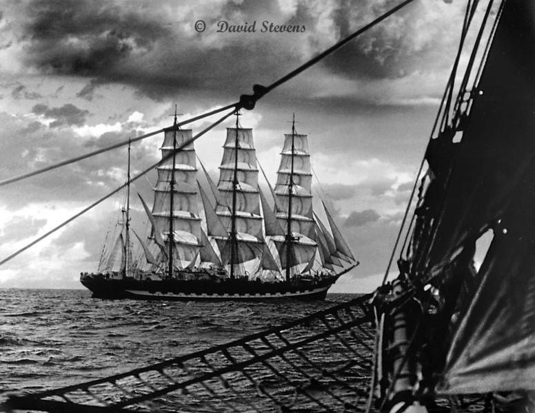 Barque Kruzenshtern and bow of Californian