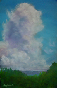 """Cedargate Thunderhead 121/2'x191/2"""" Soft Pastel on Sand Paper Private Collection"""