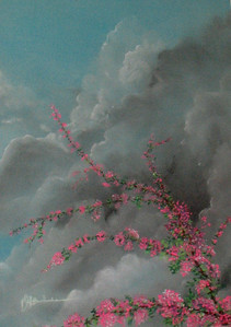 """Spring Bloom, Approaching Storm 19""""x25"""" Soft Pastel on Paper"""