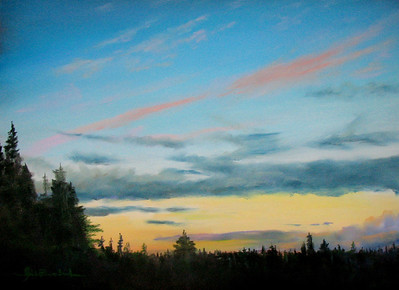 """Sunset Over Whidbey Sound II 10""""X15"""" Pastel and Alcohol Wash on Arches block Private Collection"""