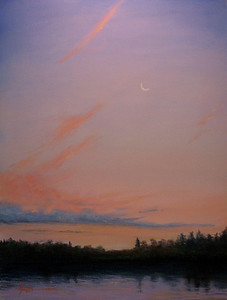 """Sunset, Moon Rise 22""""x30"""" Soft Pastel and Alcohol Wash on 140lb. Arces W/C Paper Private Collection"""