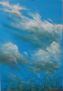 """Summer Sky, Cedargate Lane 121/2""""x191/2"""" Soft Pastel on Sand Paper Private Collection"""