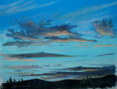 """Sunset over Whidbey Sound 10""""x15"""" Pastel and Alcohol Wash on Arches Block Private Collection"""
