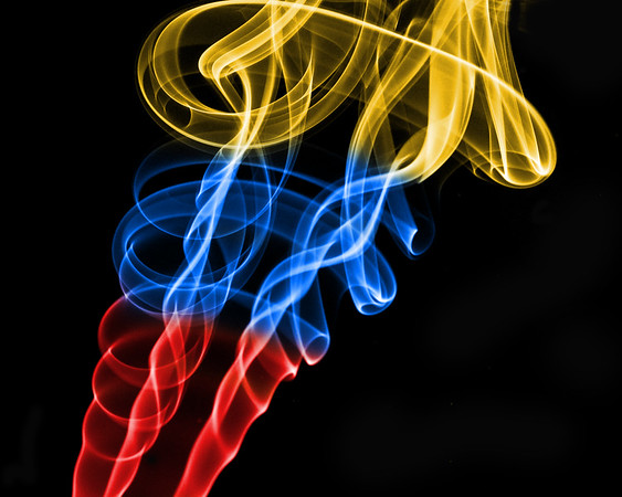 Yellow, Blue and Red Smoke , Cottage Grove fine art photographer and photography