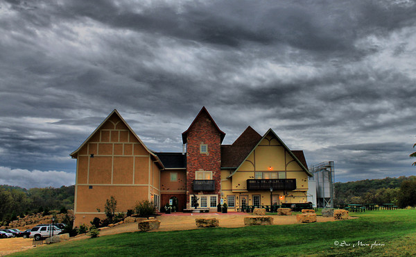 The north side of the New Glarus Brewery Hilltop at sunset.