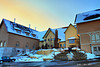 As the sun sets after the first snow at the Hilltop Facility of the New Glarus Brewing Company