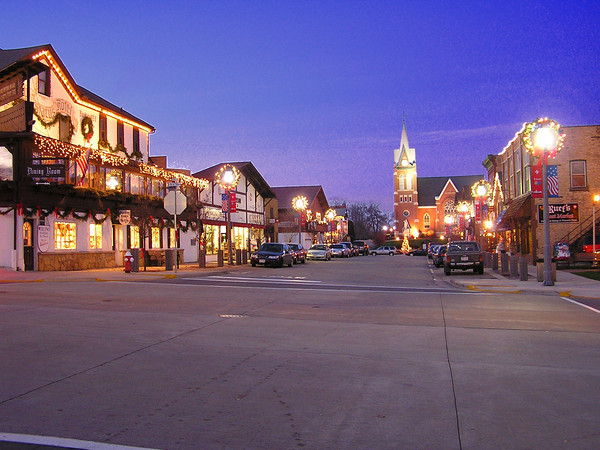 Downtown New Glarus on an early December evening.