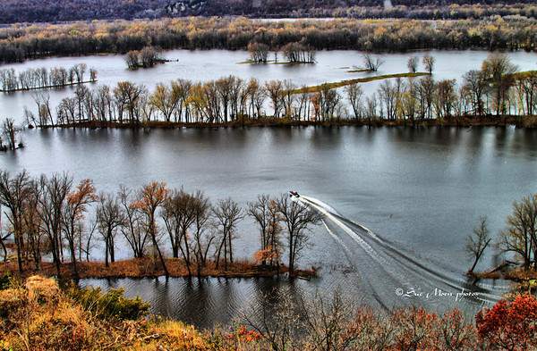A boat heads out for a day of fishing on the Mississippi River near Cassville, WI.