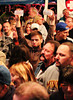 In the crowd at Oktoberfest, in New Glarus, one partier sadly  held up two empty cups.