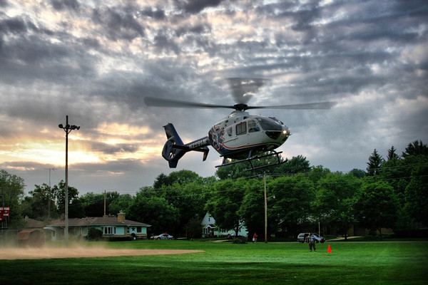 Med Flight takes off from Glarner Park in New Glarus following a training session with New Glarus EMS and New Glarus Fire Department