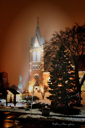 The fog makes a beautiful glow at the Swiss Church in New Glarus, WI.