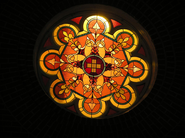 One of the windows at the Swiss Church in New Glarus