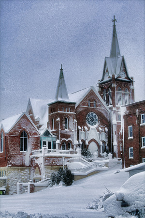 The Swiss United Church in New Glarus early in the morning as the blizzard starts to let up.