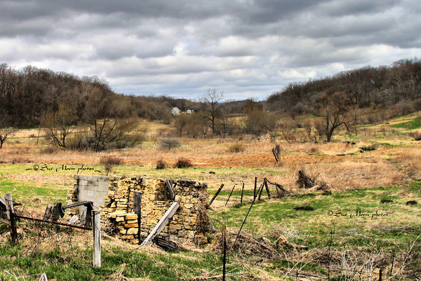 A partial barn foundation in  a valley near New Glarus, WI.