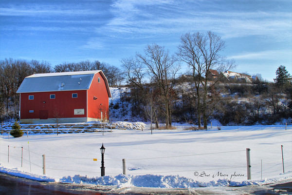 Looking to the right before going up the hill to the New Glarus Brewery, you will see what appears to be a barn but what is in fact,  the waste water treatment facility for the brewery.