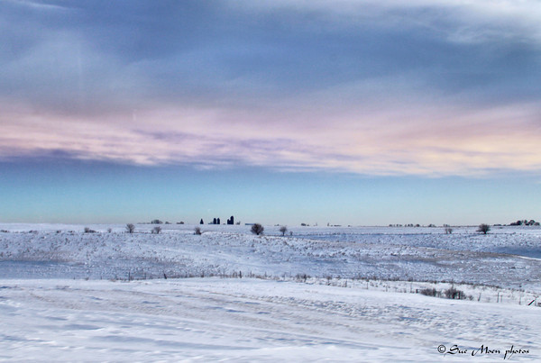 At sunrise the snowy fields are stunning.