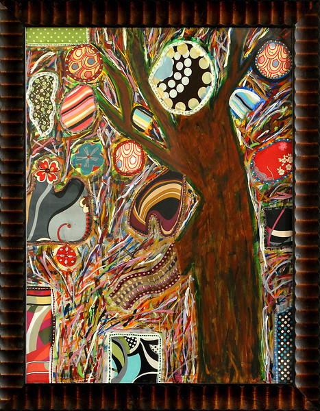 """Tree Party - April 2009 - 30x40 - mixed media on canvas - framed """"36x 46.2"""". <a href=""""http://www.abbotkinney1stfridays.com/"""">AbbotKinney1stFridays</a>"""