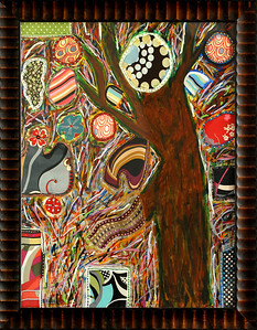 """Tree Party - April 2009 - 30x40 - mixed media on canvas - framed """"36x 46.2"""". AbbotKinney1stFridays"""