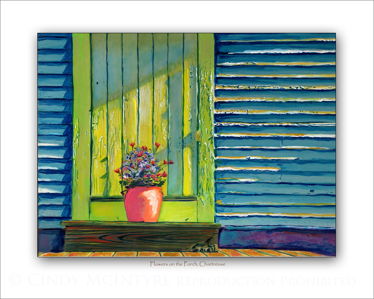 Flowers on the Porch, Chartreuse door