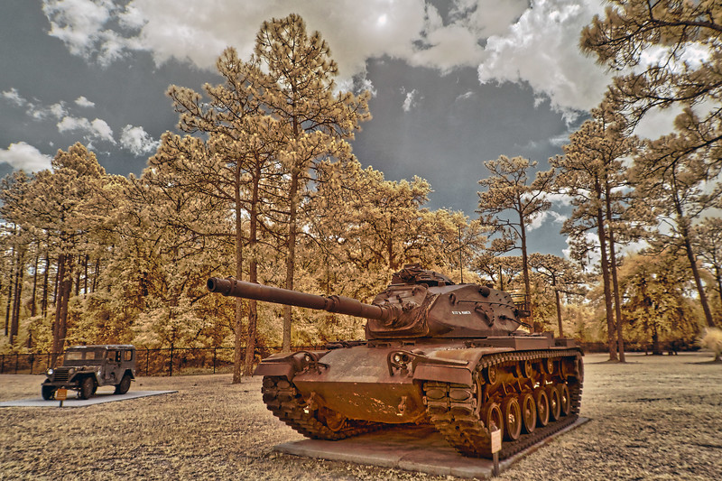 """Jeep and """"Wid' A Maker"""" Tank at Camp Blanding"""