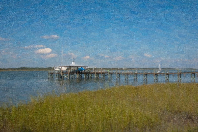 """Tolomato River (Intracoastal Waterway) looking west from Vilano Beach, in """"oil."""""""