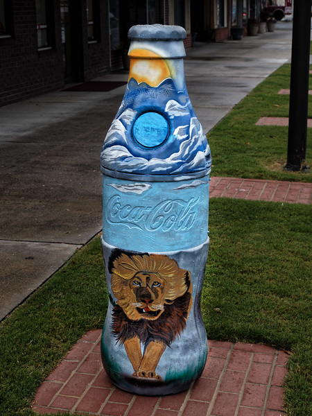 Lion Decorated Coke Bottle Art
