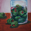 """Olives in a jar"".  oleo."