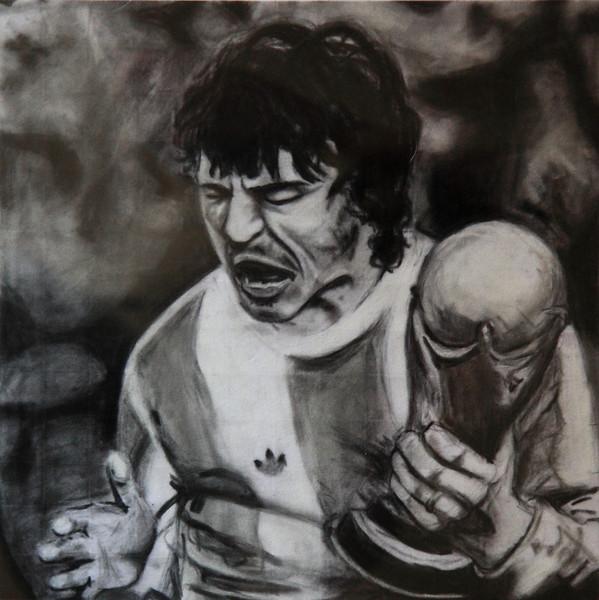 """""""El Gran Capitan"""". Carbonilla, 33 x 33 cm."""