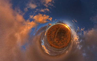 Planet Stormy Clouds at Sunset