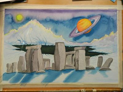 Stonehenge Revisited, 15x25 watercolor, aug 19, 2012  DSCN1416