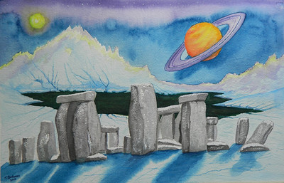 Stonehenge Revisited, 15x25 watercolor, completed ,aug 20, 2012  Dscn1418