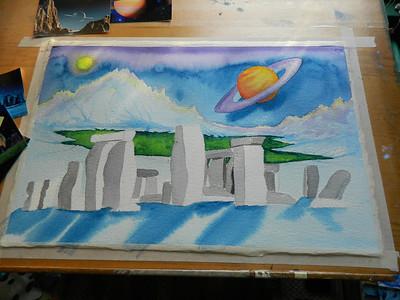 Stonehenge Revisited, 15x25 watercolor, aug 17, 2012 DSCN1413
