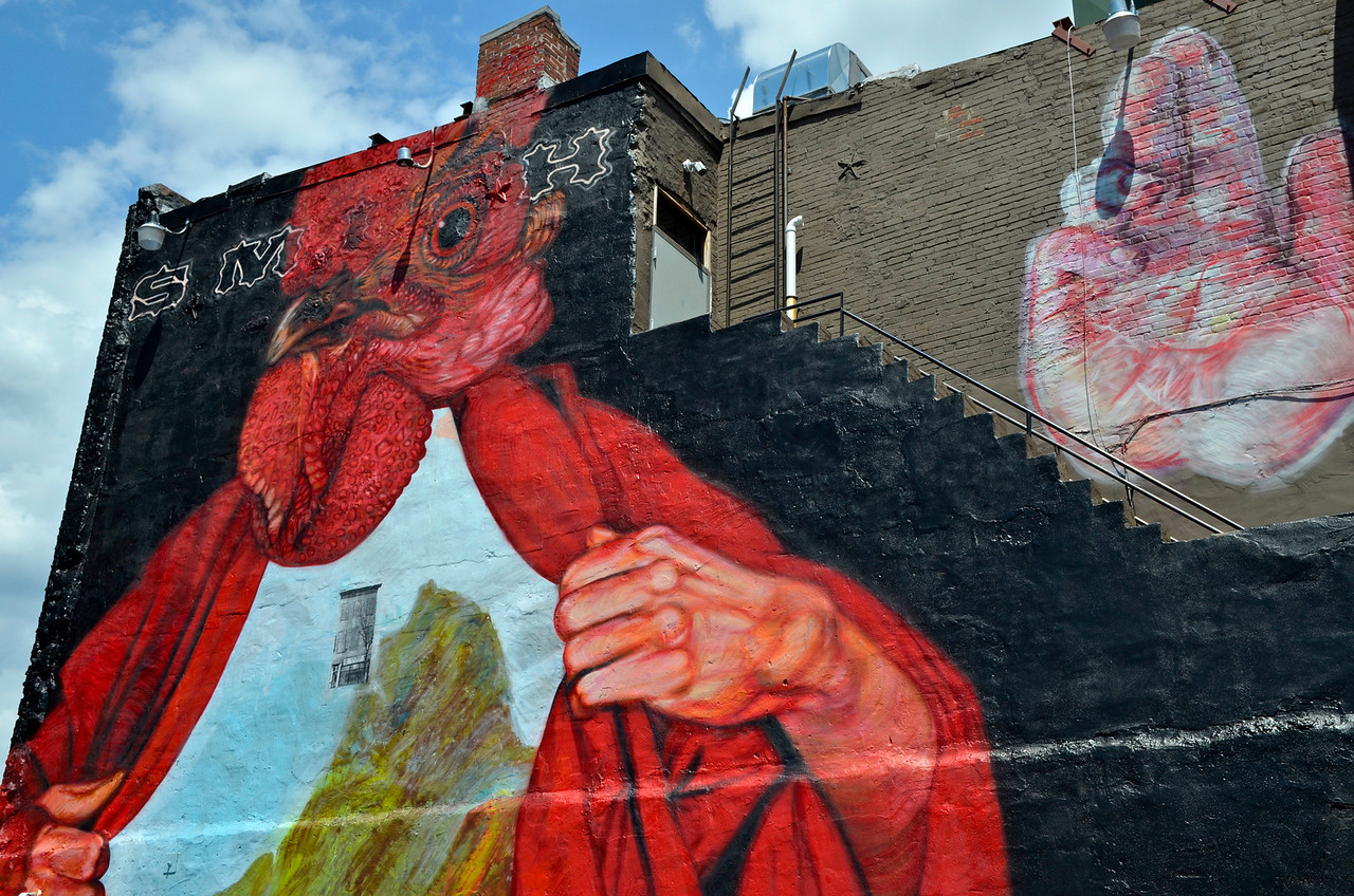 """""""Dusk on H Street""""<br /> <br /> A mural by Gaia on the west side of Smith Commons on Washington DC's H Street NE."""
