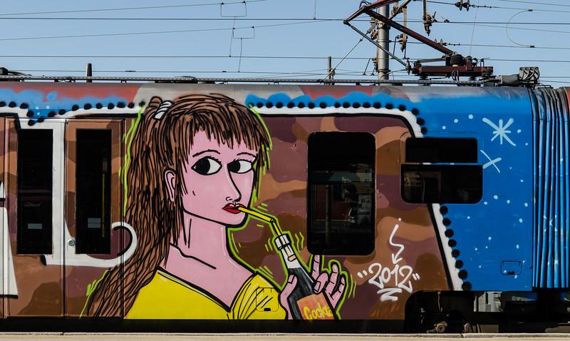 Painted train car at the Ljubljana train station.